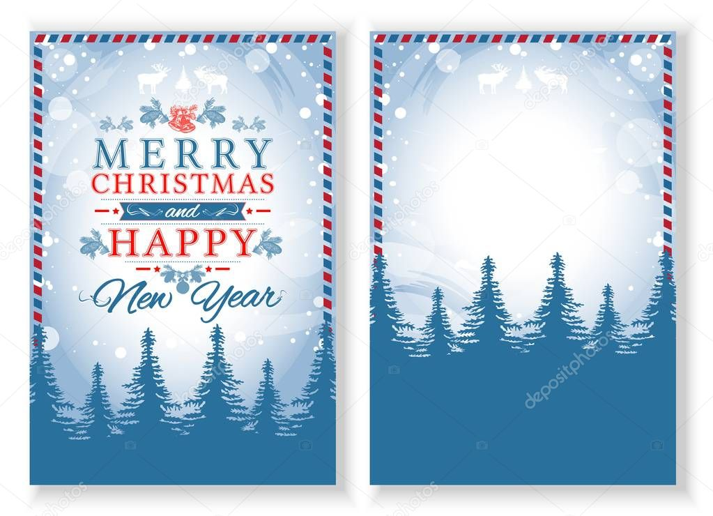 Vector Christmas Poster Template Winter Forest  Stock Vector