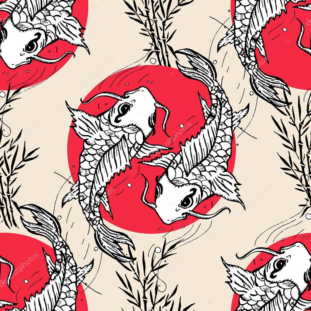 Фотообои Koi carps seamless pattern, hand drawn japanese pattern