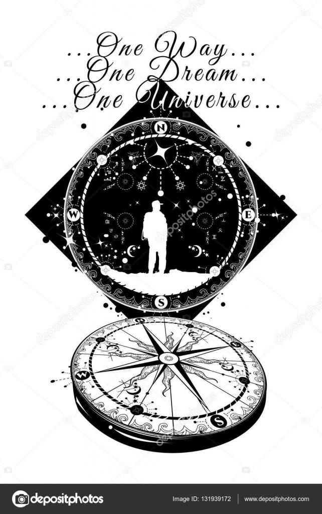 Astronauta I Kompas Tatuaż Magiczne Symbole Podróżnik
