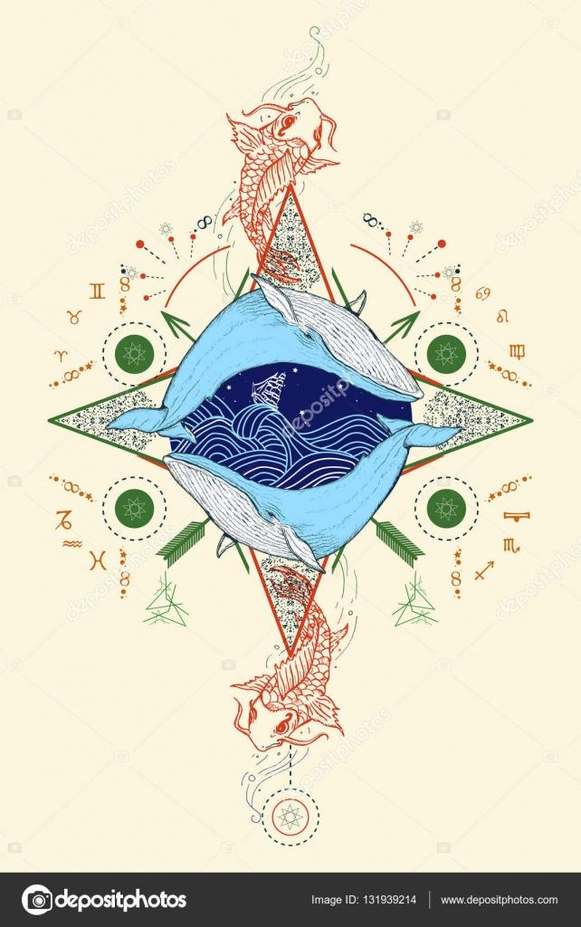 Vector: dibujo de rosas de los vientos | Dos ballenas en mar rosa de ...