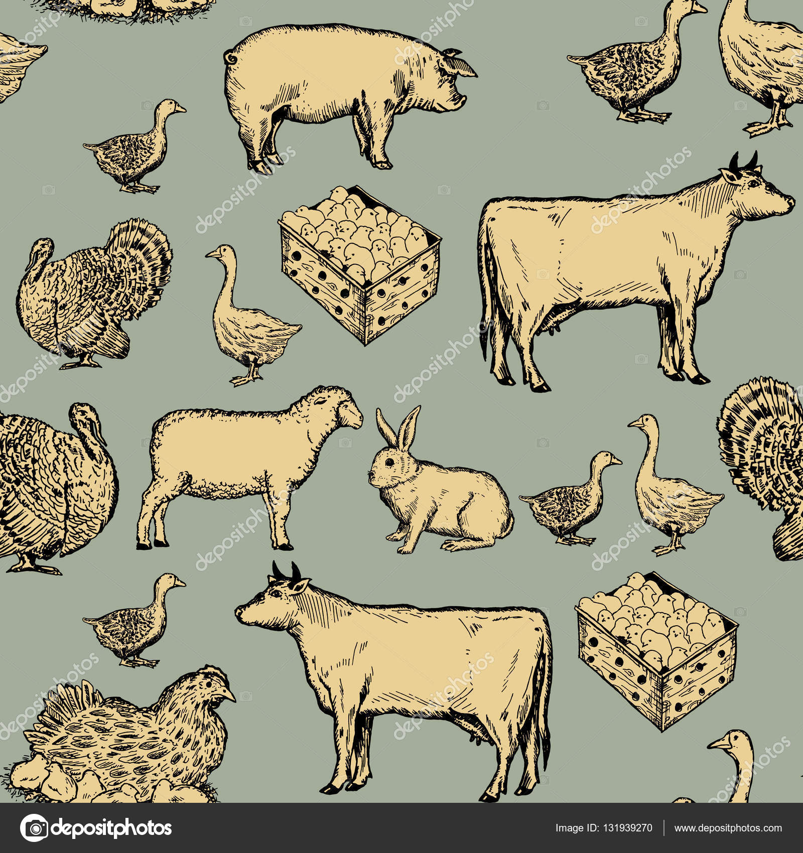Farm Animals Seamless Pattern Cow Goose Chicken Pig Goat Rabbit Hand Drawn Ink Vintage Engraving Style Vector By Intueri