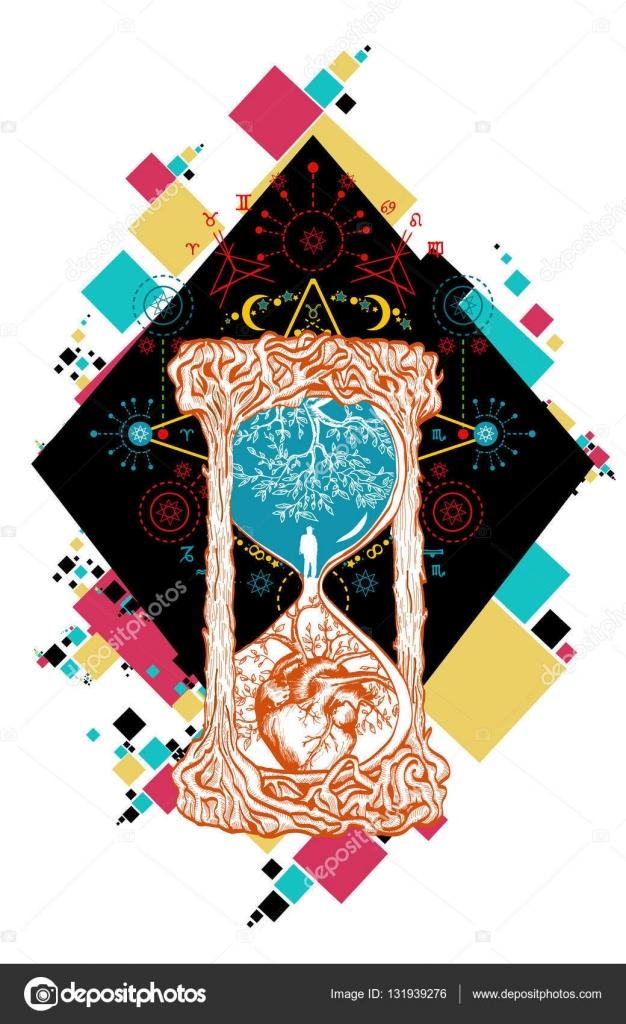Art De Tatouage Couleur Sablier Temps De Concept Image