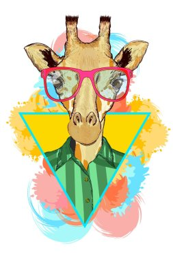 Giraffe hipster fashion animal illustration. Fashion portrait