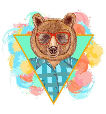 Bear hipster fashion animal illustration. Fashion portrait