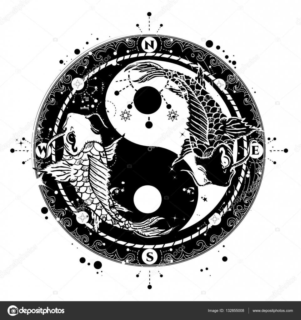 Yin I Yang Tatuaż Wektor Sztuki Styl Boho Dwa Karpie Japońskie