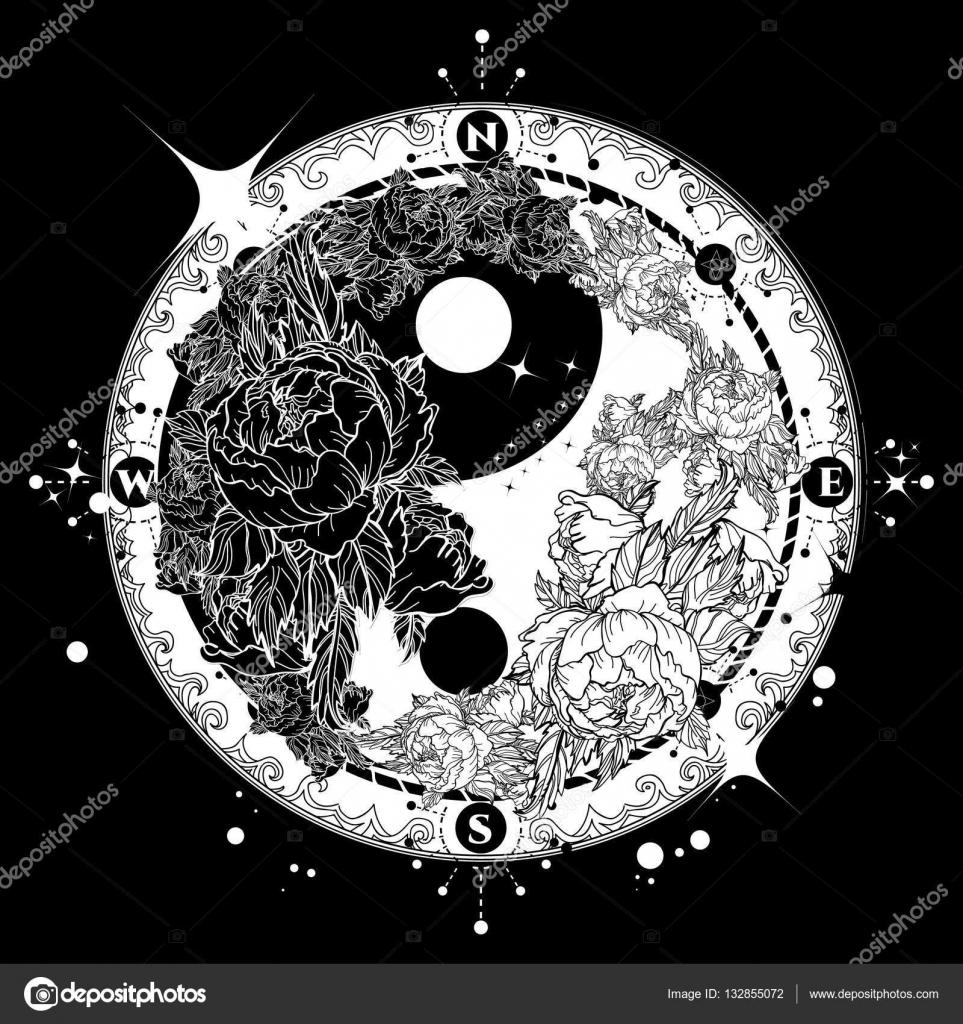 Yin En Yang Tattoo Kunst Vector Boho Stijl Mandala Stockvector