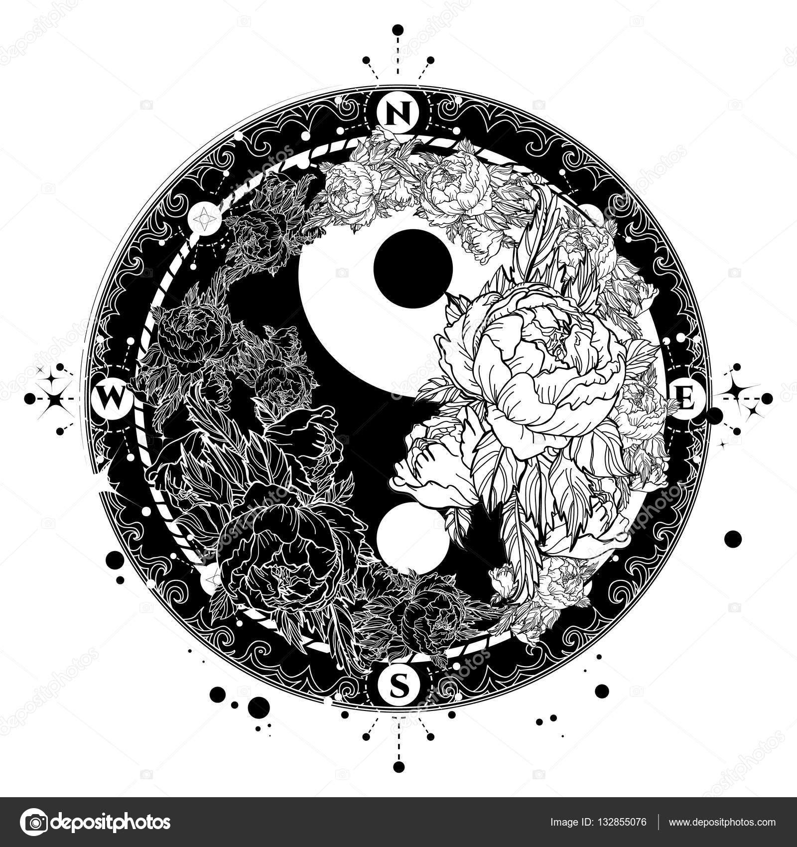 yin a yang tetov n um n vektoru ern a b l r e. Black Bedroom Furniture Sets. Home Design Ideas