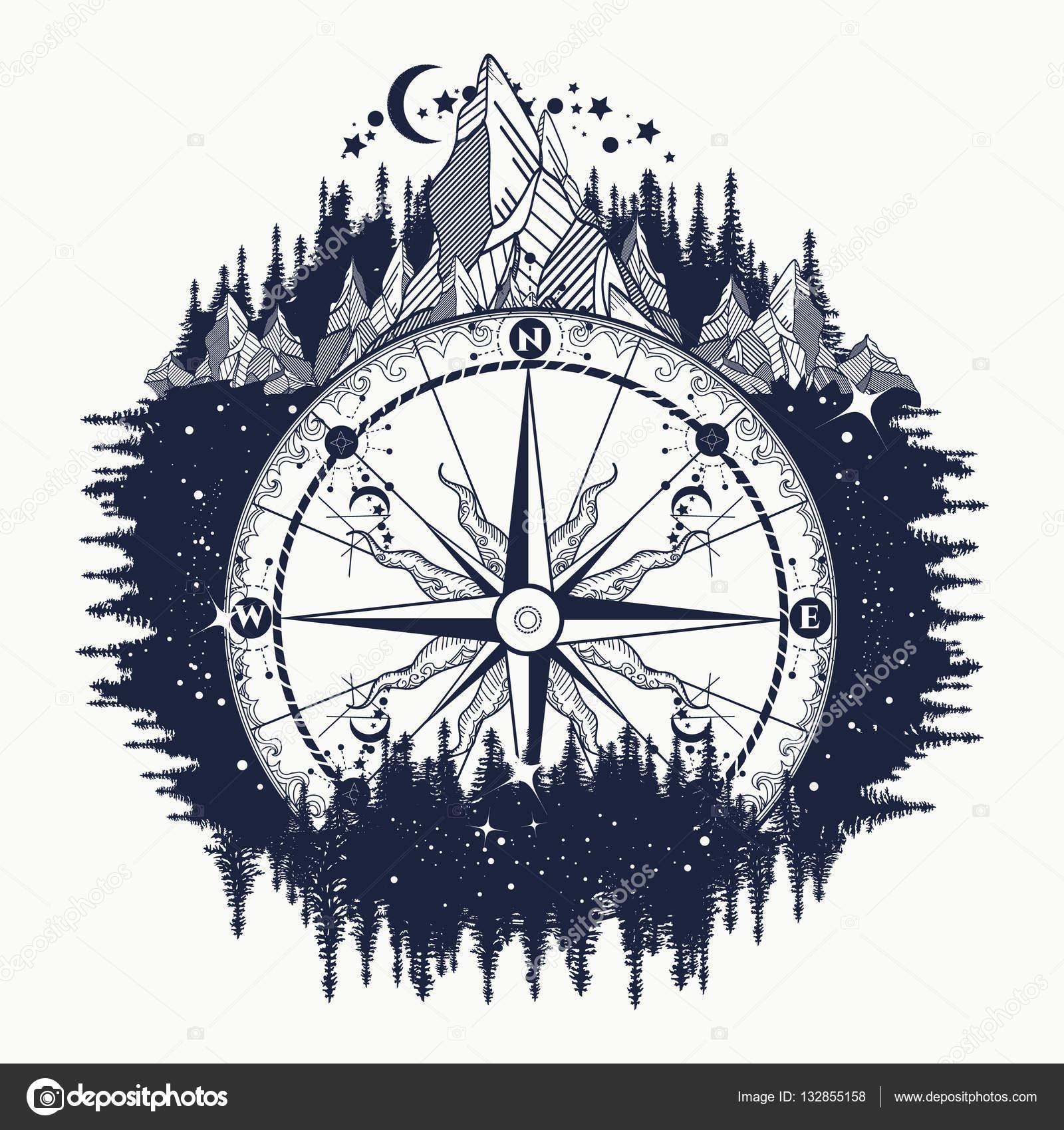 Rosa Delos Vientos Diseño Tattoo Compás Antiguo De Montaña Y Arte