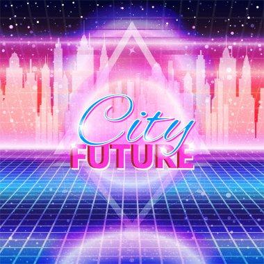 City future, 80s Retro Sci-Fi Background