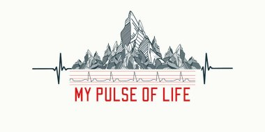 Mountains tattoo art, t-shirt design, slogan my pulse of life.
