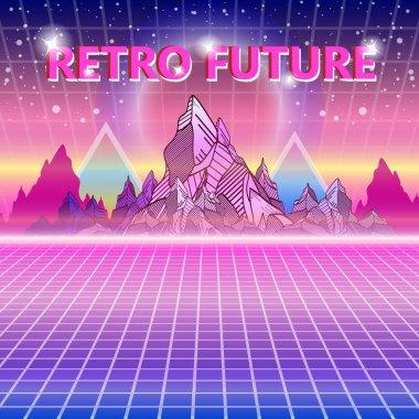 Retro future, 80s style Sci-Fi Background. Retro wave
