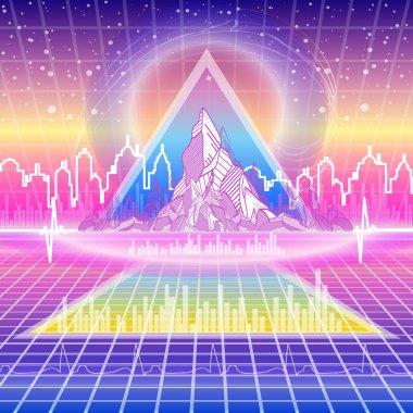 Retro futuristic background. Neon Poster. 80s Retro Sci-Fi