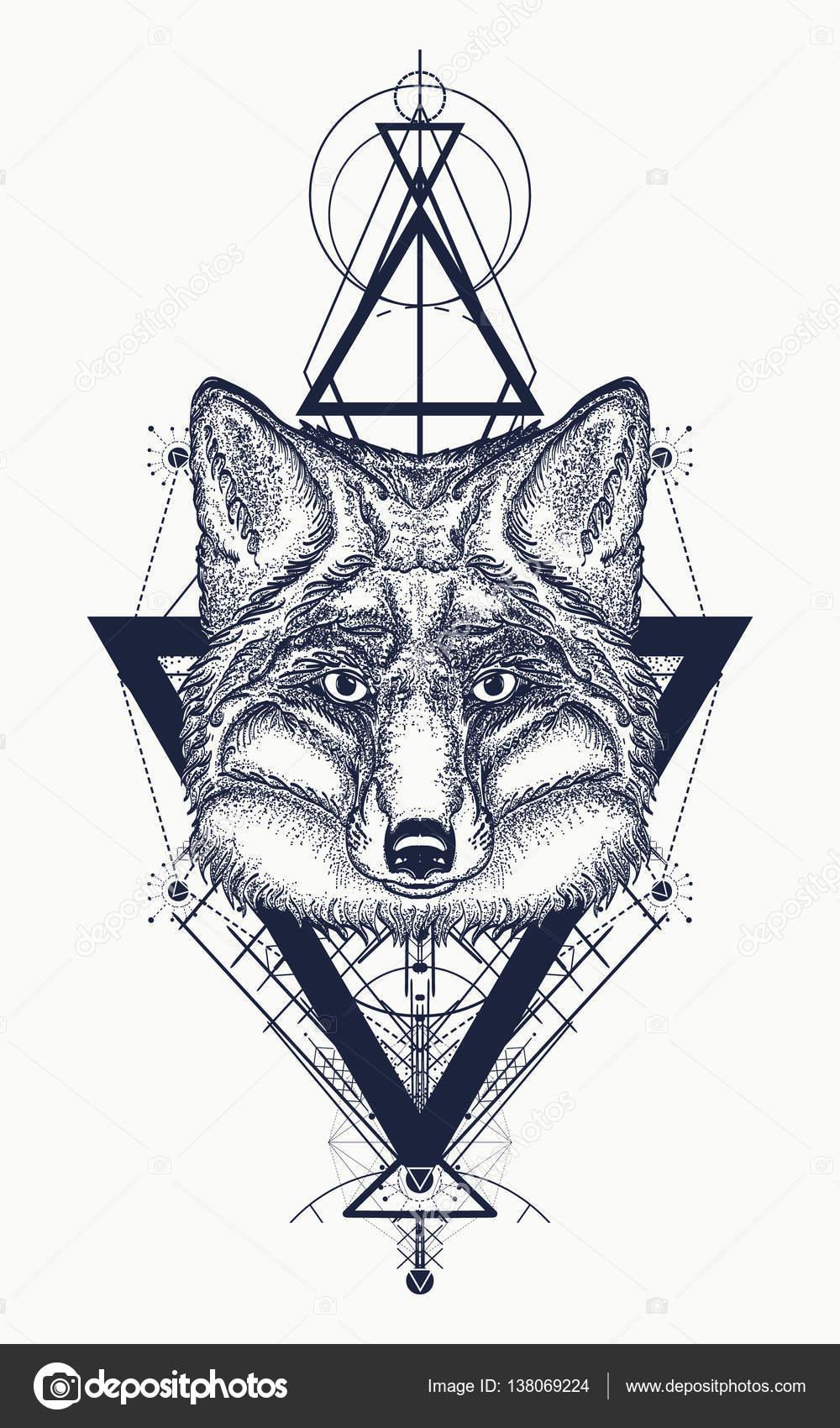 fox tatouage style g om trique symbole mystique de l aventure image vectorielle intueri. Black Bedroom Furniture Sets. Home Design Ideas