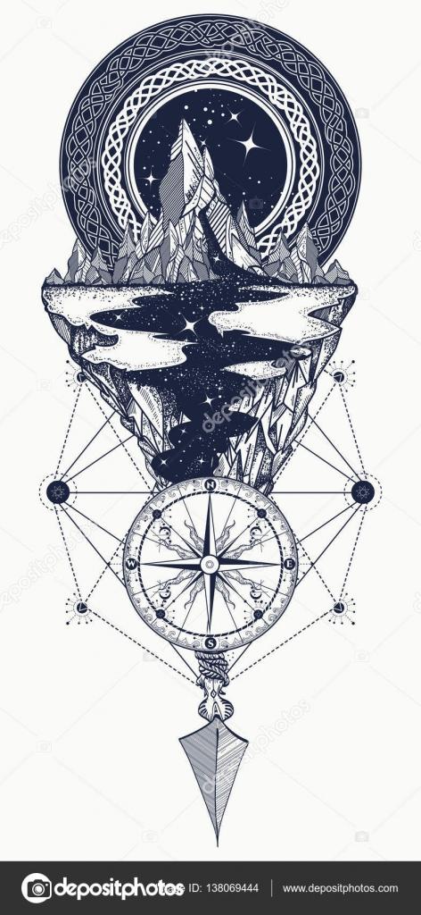 Góry Kompas Strzałka Tatuaż Przygodowy Podróżniczy Na Zewnątrz