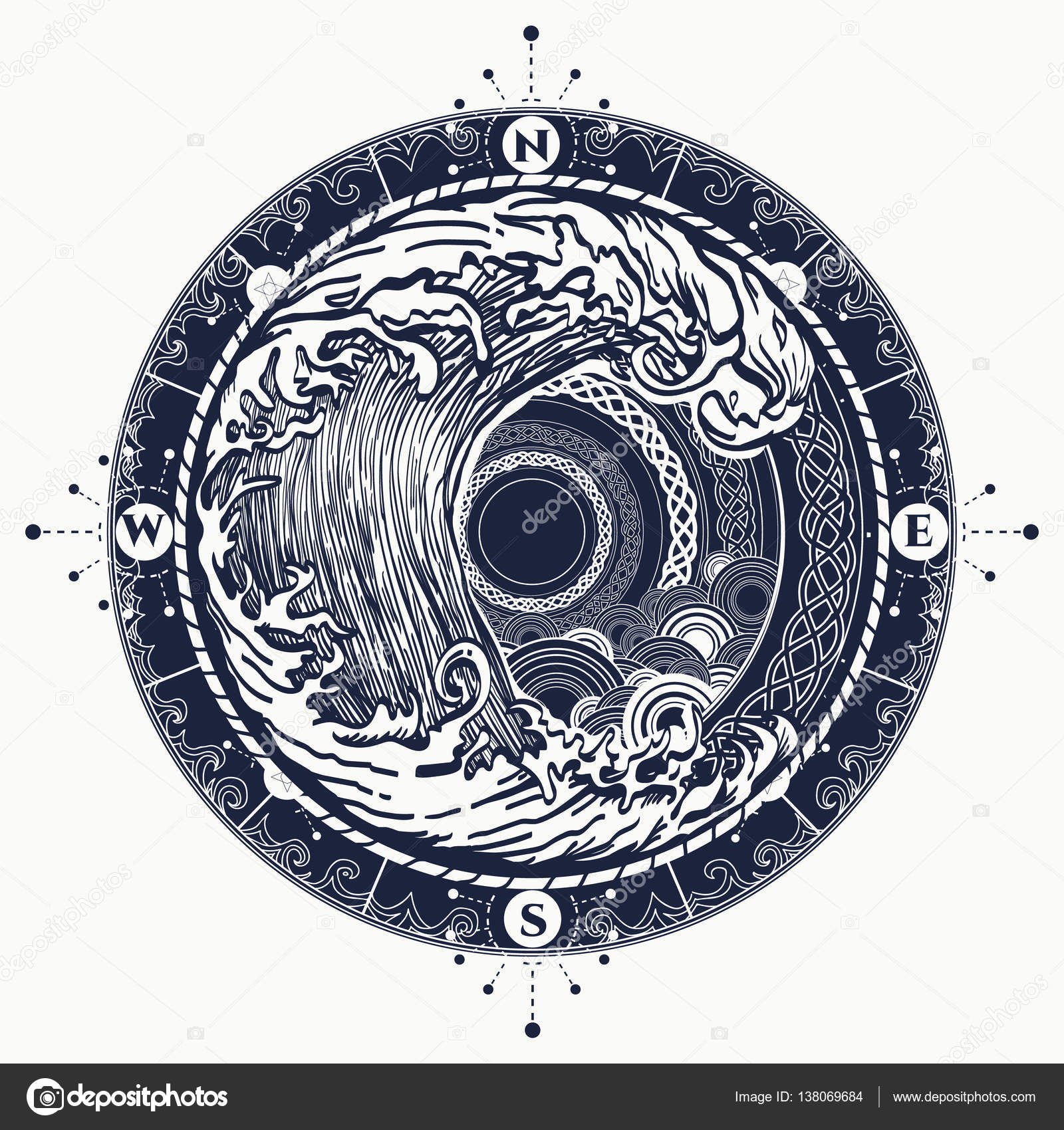 Zee Kompas En Storm Tattoo Keltische Stijl Grote Golf En Rose