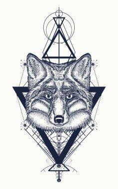 Fox tattoo geometric style. Mystical symbol of adventure