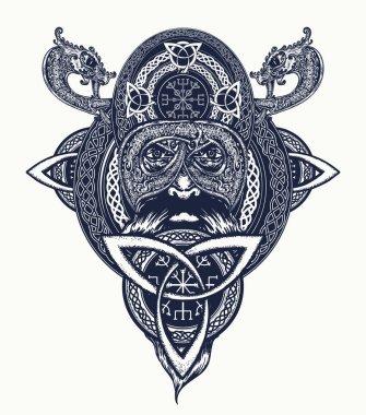 Viking warrior tattoo. Northern warrior, t-shirt design