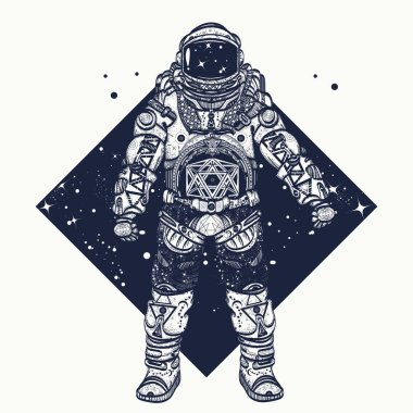 Astronaut tattoo.  Cosmonaut in deep space triangular style