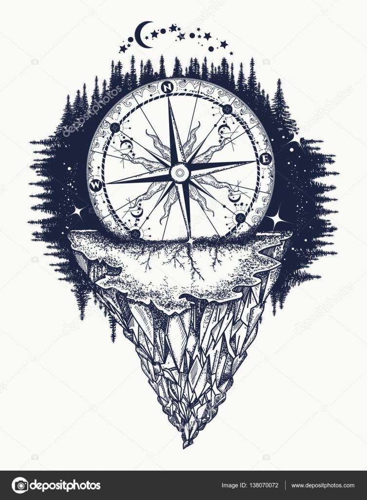Góry Antyczne Kompasem I Sztuka Tatuaż Róża Wiatrów
