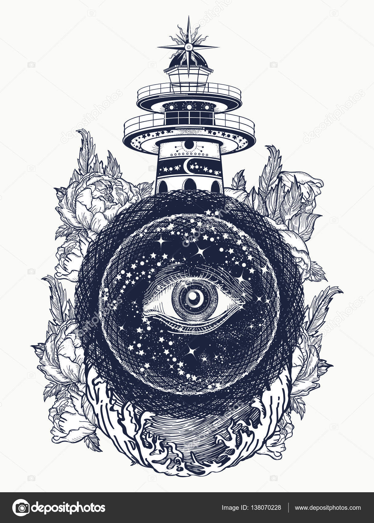 Lighthouse Roses And All Seeing Eye Tattoo Freemason Stock