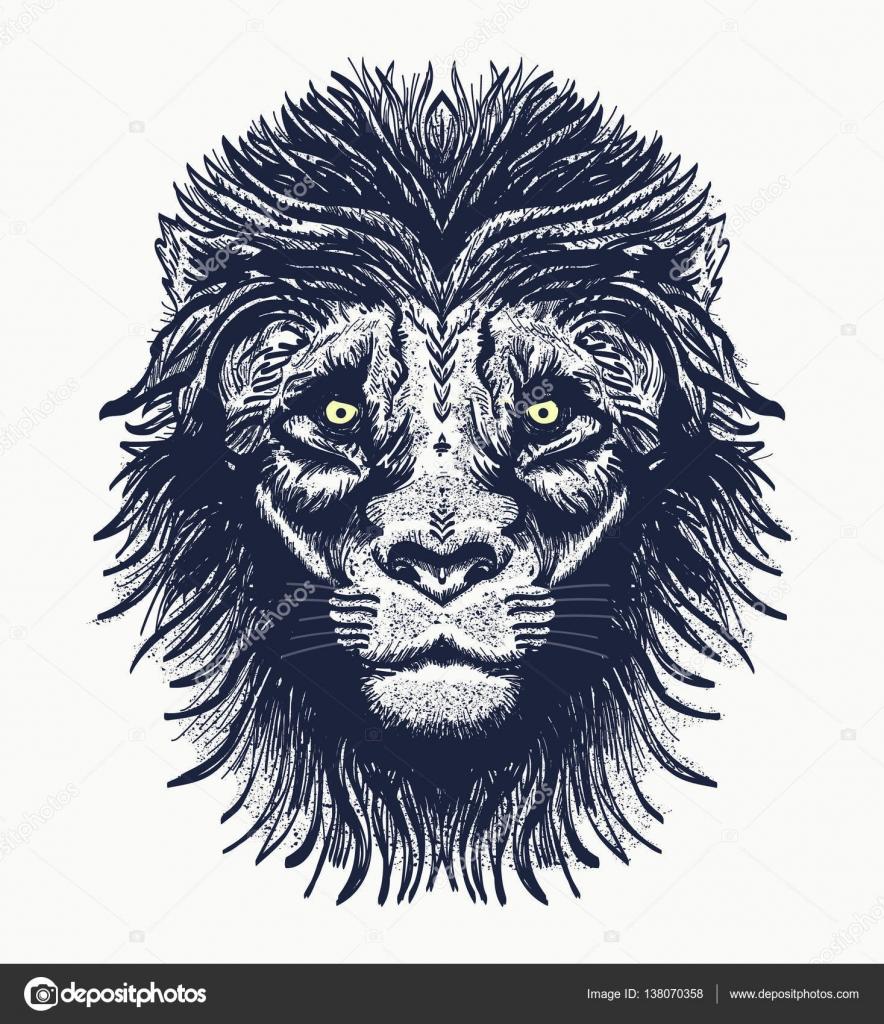 Tatuaje de León. Retrato realista del diseño de la camiseta de León ...