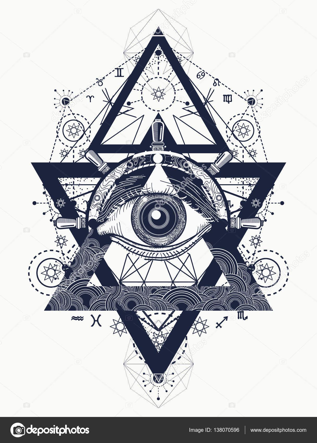 All Seeing Eye Tattoo Art Vector Freemason And Spiritual Symbol
