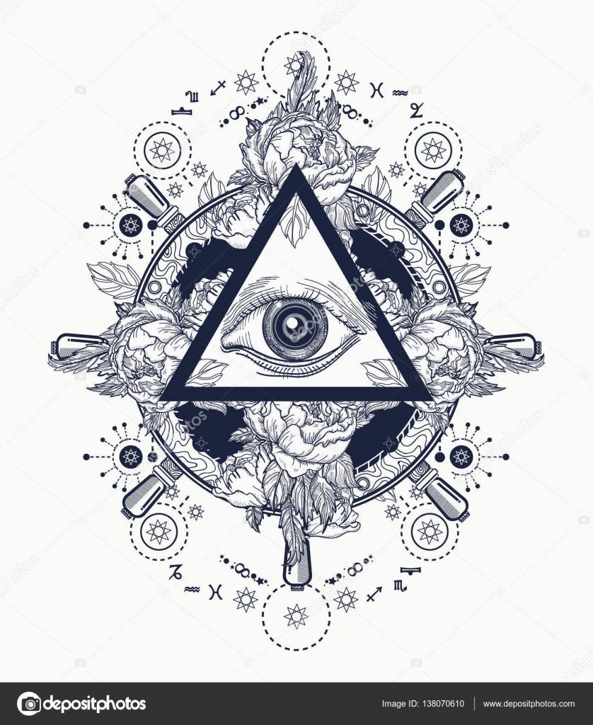 All Seeing Eye Pyramid Tattoo Art Freemason And Spiritual Symbols Alchemy Medieval Religion Occultism Spirituality Esoteric