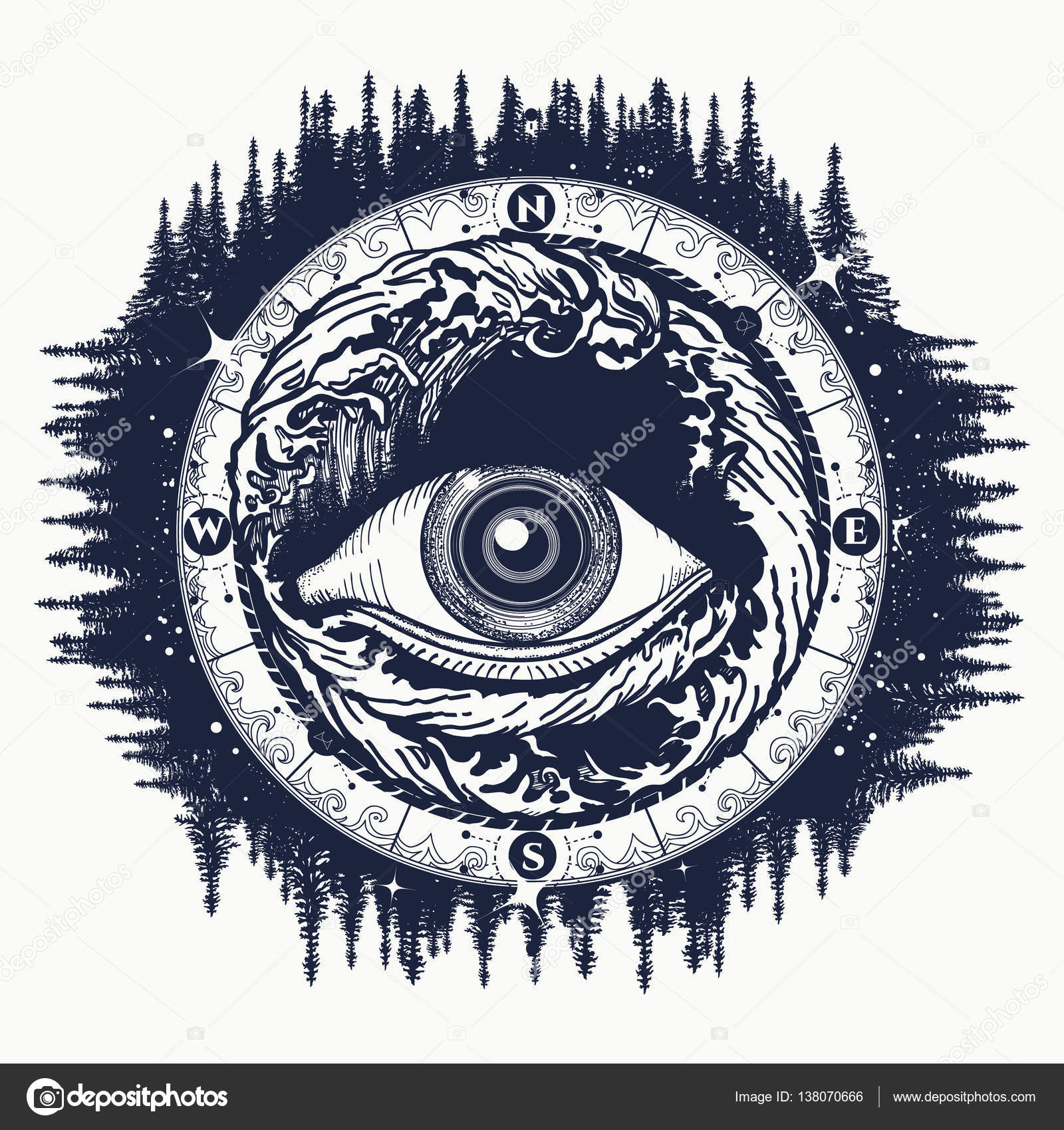 All Seeing Eye Tattoo Tourism In A Mystical Style Vector Stock