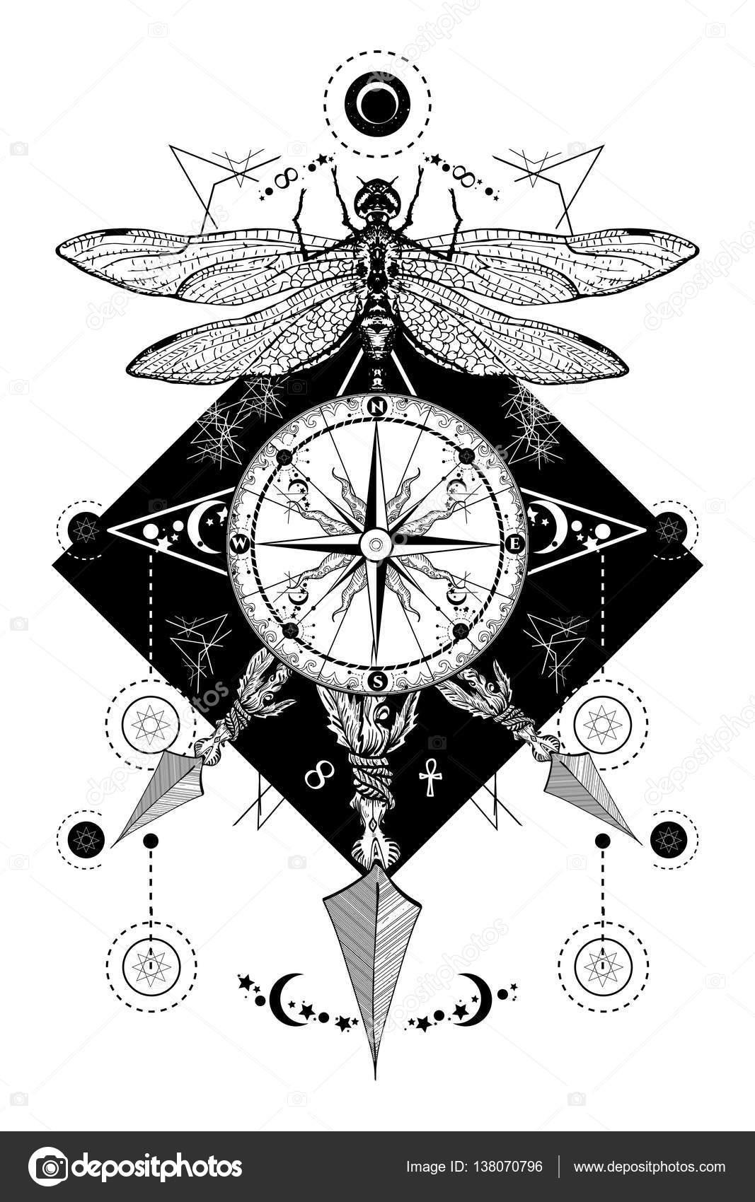 Yusufçuk Pusula Okları Dövme Geçti Mistik Semboller Stok Vektör