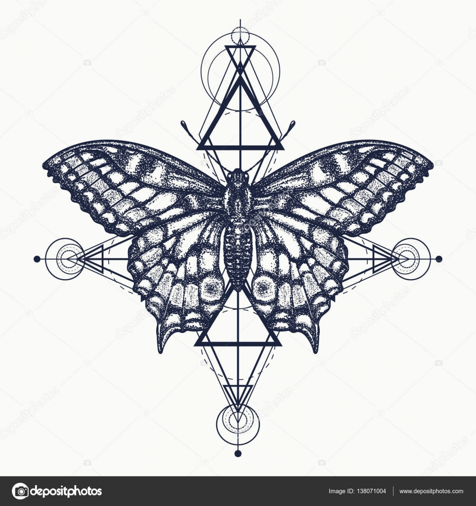 0156eb06556fc Butterfly tattoo, geometrical style. Beautiful Swallowtail boho t-shirt  design. Mystical symbol of freedom, nature, tourism. Realistic butterfly  art tattoo ...