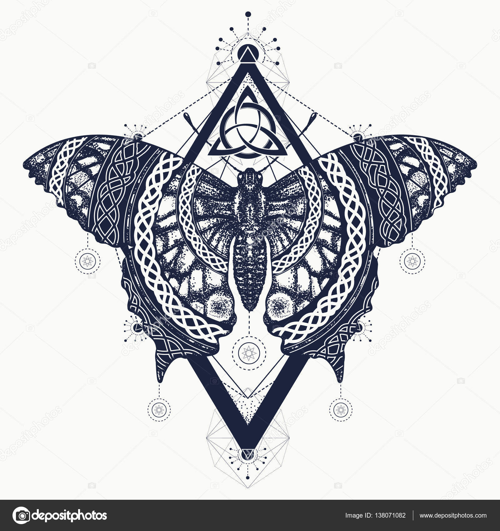 Butterfly Tattoo Art Celtic Style Mystical Symbol Of Freedom