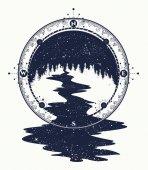 Fotografia Stelle fiume scorre dallarte del tatuaggio bussola, simbolo di viaggio