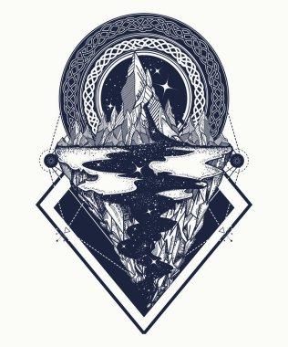 Mountains tattoo geometric style. Adventure, travel, outdoors