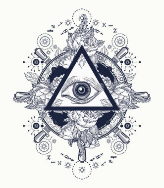 All seeing eye pyramid tattoo art. Freemason and spiritual