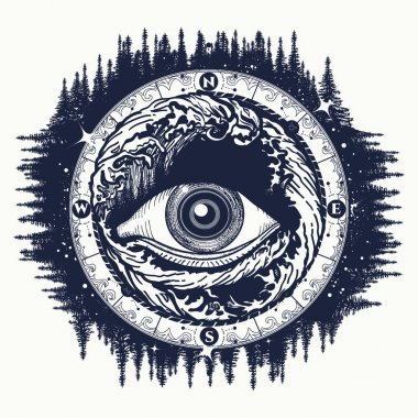 All seeing eye tattoo, tourism in a mystical style vector