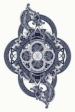 Dragons and Celtic tree of life, tattoo. Mystic tribal symbol