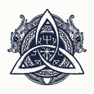 Dragons and Celtic knot, tattoo and t-shirt design. Dragons
