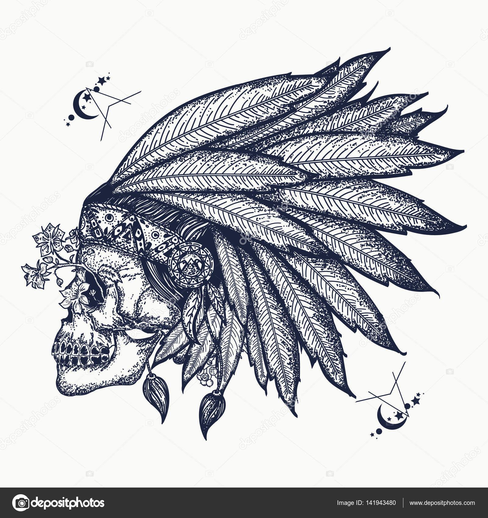 Indyjski Czaszka Tatuaż Sztuki Symbol Wojownika Indianie
