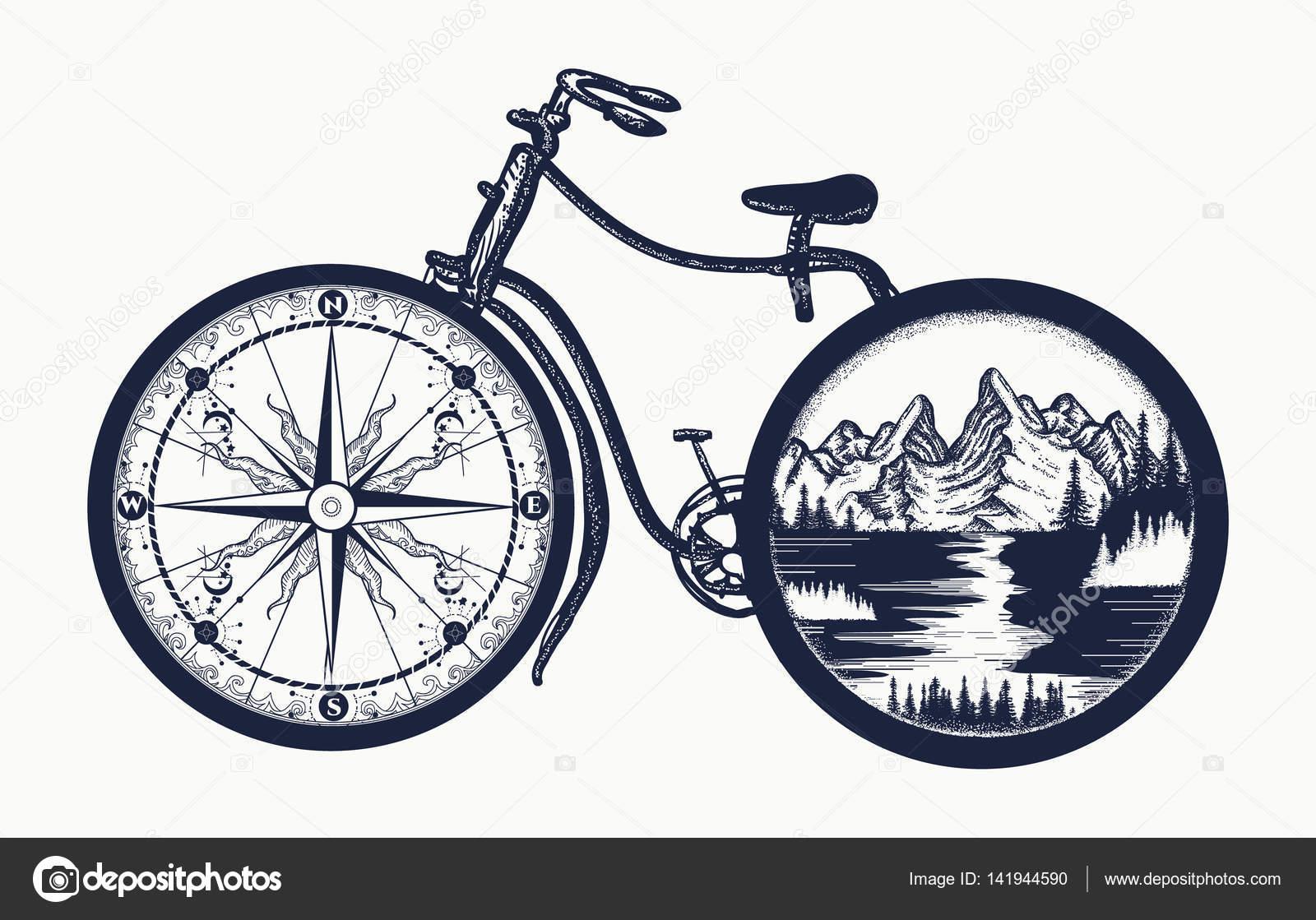 Sztuka Tatuaż Rowerów Symbol Podróże Turystyka Przygoda