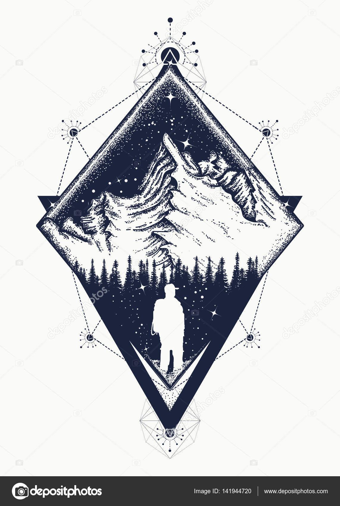 Art de tatouage de style triangulaire de montagne. Symbole