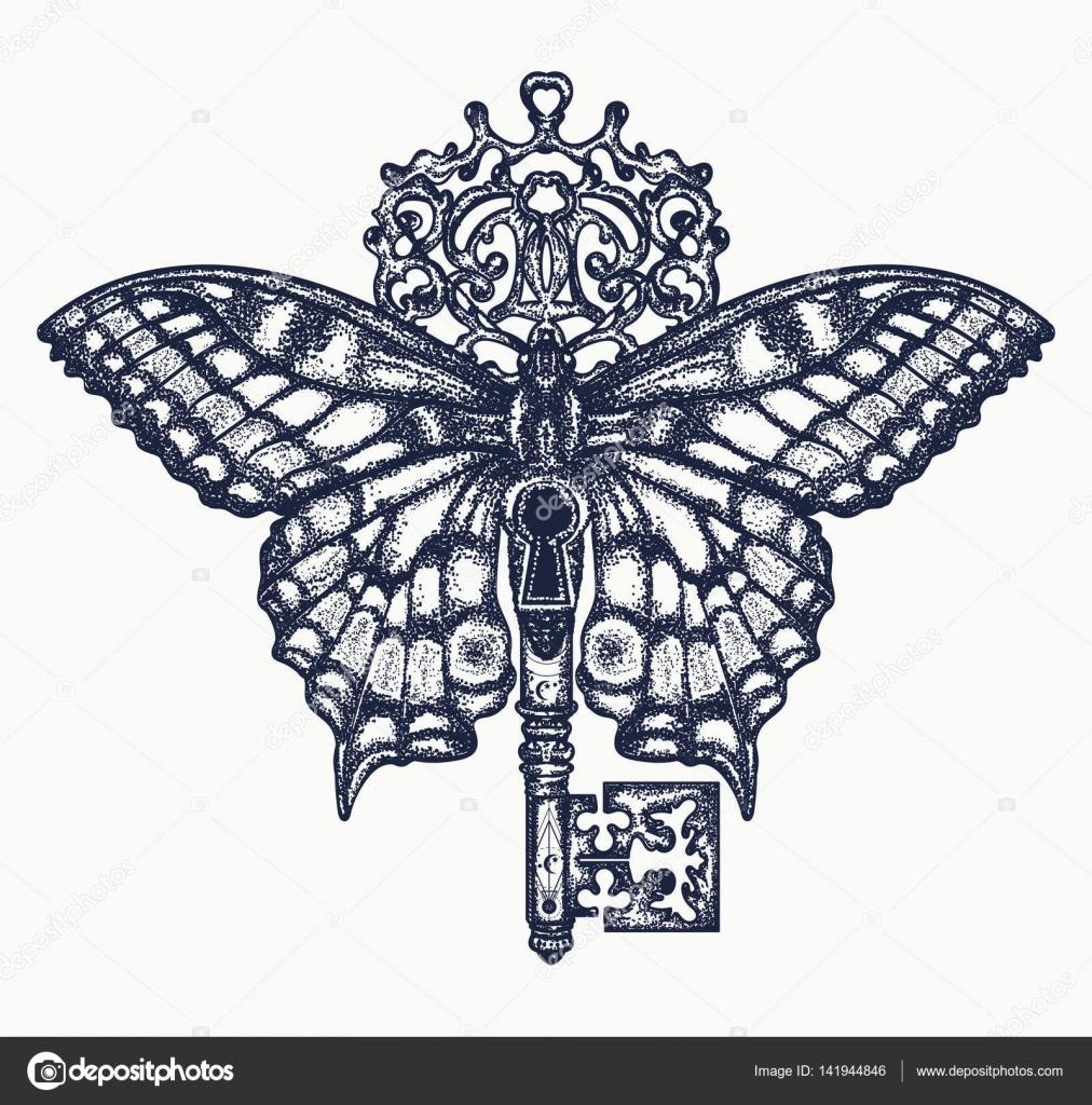 Klucz I Motyl Tatuaż Sztuki Mistyczny Symbol Wolności