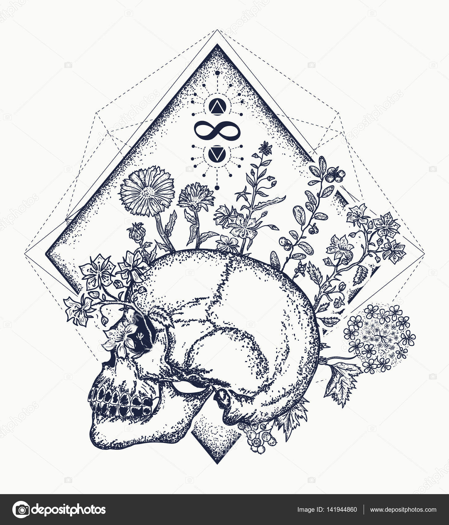 Cr ne humain par le biais de laquelle les fleurs tatouage art symbole de la vie image - Symbole de la vie ...