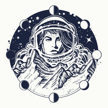 Woman astronaut tattoo art. Spaceman exploring new planets