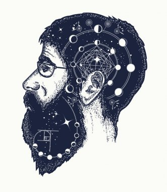 Scientist tattoo. Double exposure style