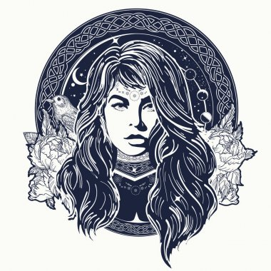 Woman oracle tattoo art. Mystical fortune teller of destiny