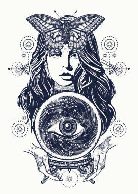 Magic woman tattoo art. Fortune teller, crystal ball