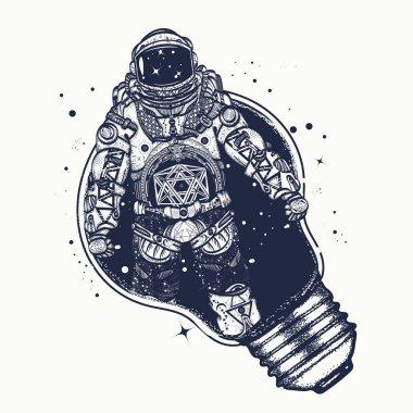 Astronaut in a light bulb  tattoo art