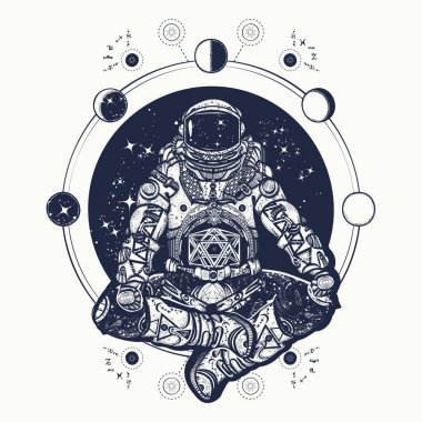Astronaut in the lotus position tattoo art. Symbol of meditation