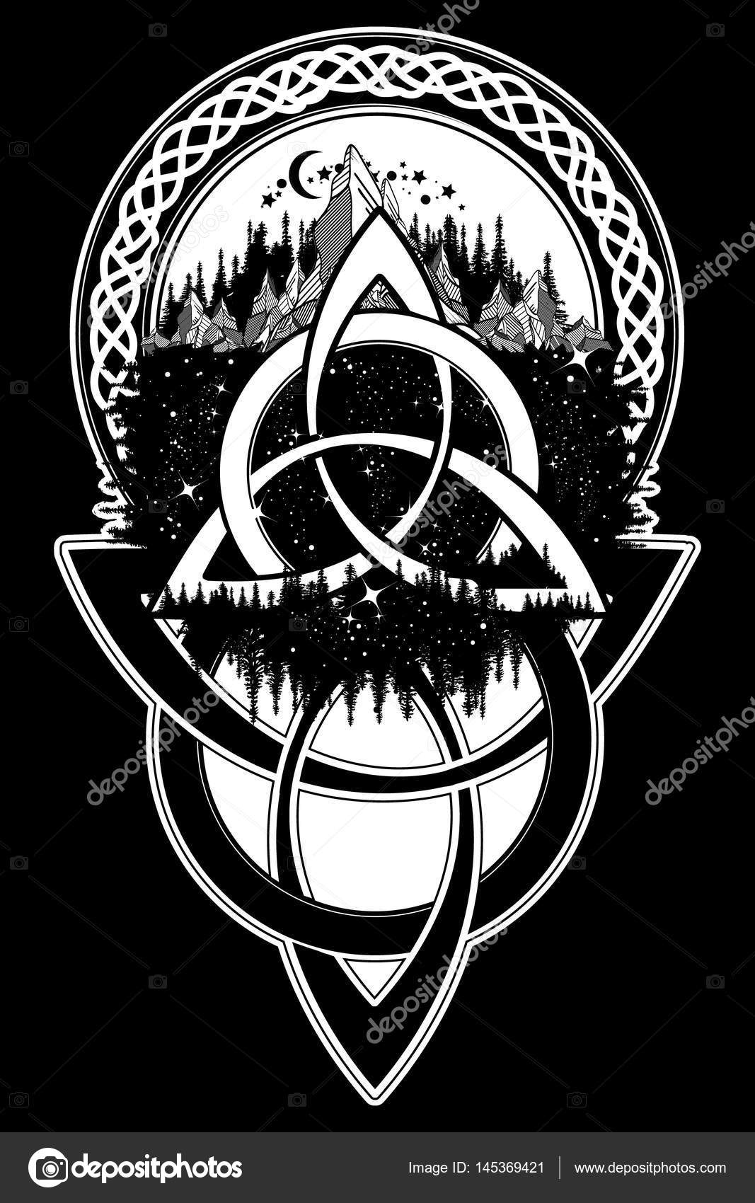 Celtic Knot Tattoo Mountain Forest Symbol Travel Symmetry