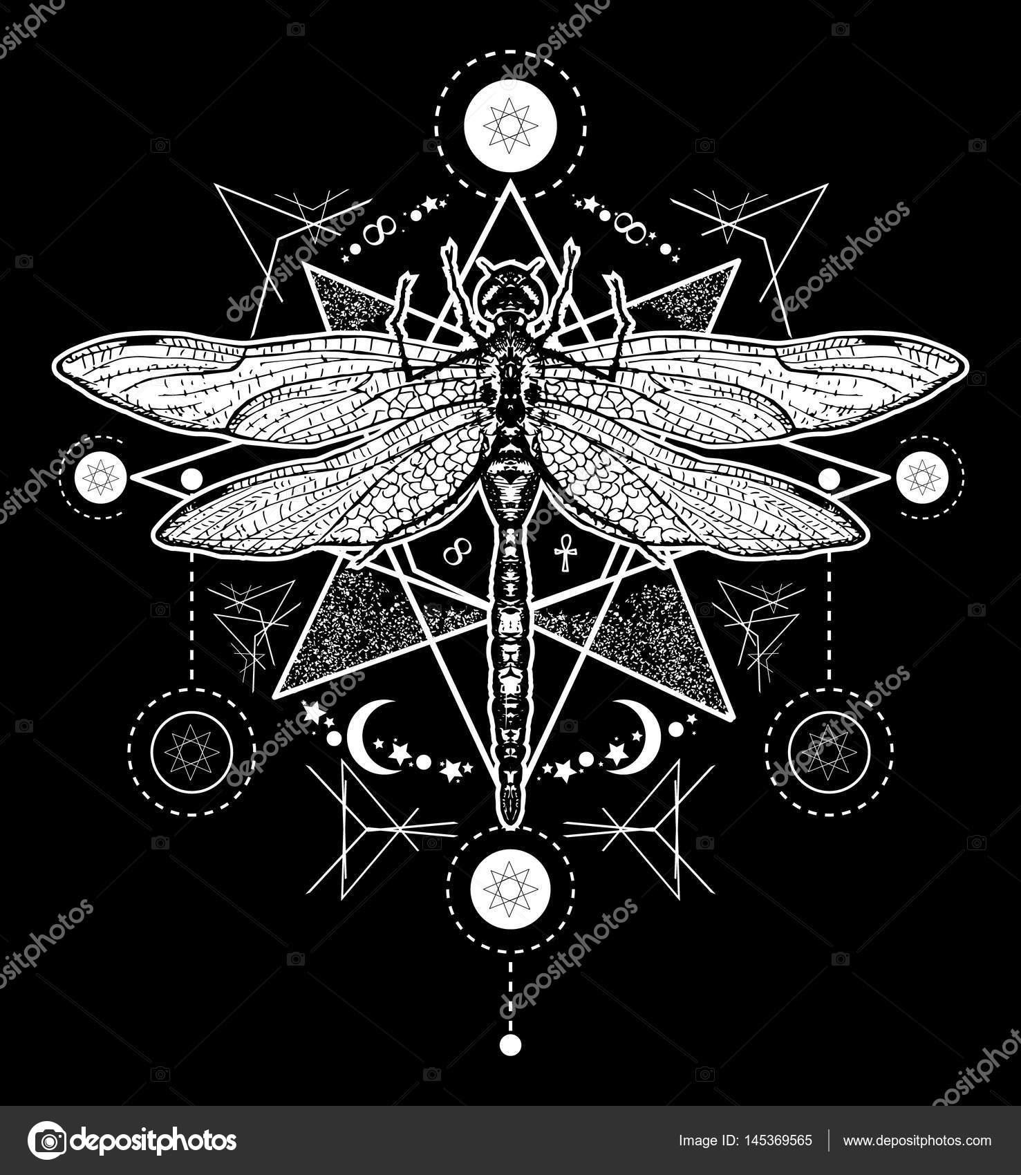 Yusufçuk Dövme Elle çizilmiş Mistik Semboller Ve Böcekler Stok